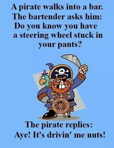 Pirate humor Funny Meme Pictures, Funny Captions, Funny Puns, Hilarious, Funny Stuff, Pirate Day, Pirate Life, Duck Quotes, Treasure Island