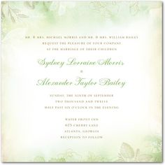 Washed Floral - Signature White Textured Wedding Invitations - Lady Jae - Basil - Green : Front
