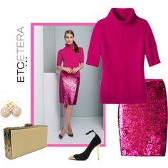 Etcetera | Holiday 2015: Hot Pink PASSION sweater and SPANGLED sequined skirt. www.etcetera.com.