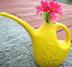 Vintage plastic watering can yellow Lustro Ware on Etsy!  use as retro flower vase holder!