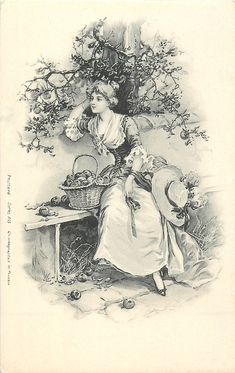pretty woman sitting on bench with one hand on hair, basket of apples in front of her - TuckDB Postcards Decoupage Vintage, Éphémères Vintage, Vintage Labels, Vintage Ephemera, Vintage Cards, Vintage Paper, Vintage Postcards, Vintage Prints, Vintage Pictures