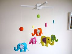 Rainbow Baby Elephants  Felt Nursery Mobile  Cot by MaisieMooNZ, $75.00