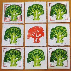 Broccoli Art Snack Linocut #arttotake #drukpersbrigade