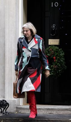 Pin for Later: British Prime Minster Theresa May Has a Style Mantra For All Power Women A Double-Breasted Graphic Coat