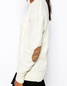 Image 3 of Glamorous Cable Knit Sweater with Elbow Patch