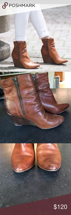 Frye Regina seamed wedge boot Cognac smooth vintage leather Frye wedged boot! Still have a lot of life left! Frye Shoes Ankle Boots & Booties