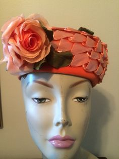 1960s Coral Straw Pillbox Hat Marshall Fields Chicago by LottieDottieVintage on Etsy