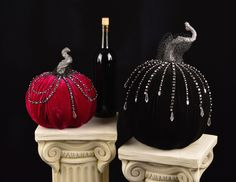 "Velvet Display Pumpkins - Katherine's Collection – Black Bow Halloween Shoppe.  Stunning holiday pumpkins in rich purple and black velvet, dripping with shimmering rhinestones and finished with delicate lace.  From the Midnight Magic line, these posh velvet pumpkins will be admired by all!   9"" and 15"".  Sold as a set of two.   FREE SHIPPING!!"