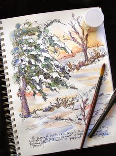 Sketchbook Drawing Sketchbook Wandering : New Snow Watercolor Sketchbook, Pen And Watercolor, Watercolor Landscape, Art Sketchbook, Artist Journal, Art Journal Pages, Sketch Journal, Art Journals, Nature Sketch