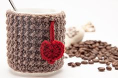 Knitted Cup / Mug Cozy  Ready Mug Warmer  Knit by KnitForHappiness