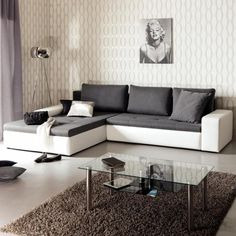 """sofa """"Nobila"""" - kika - but instead of white is grey. Sofas, Couch, Modern, Home Decor, Betty Boop, Master Bedroom Closet, Mattress, Homes, House"""