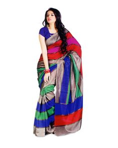 Multicolor Silk Cotton Blend Saree Is Totally Fashion Saree Designed Completely As Per The Needs Of Women And Women Looks Beautiful When She Drapes It.