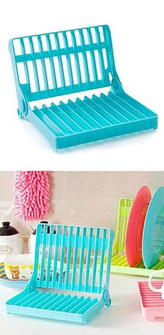 Folding dish rack // extra drying space, collapses for easy storage #product_design