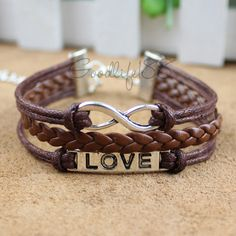 Love bracelet, infinity bracelet, karma bracelet, leather rope bracelet best gift for friends. $6.99, via Etsy.