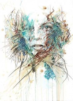 Carne Griffiths has created an impressive series of portraits, using ink and tea to make some spectacular watercolor-like effects. . http://www.carnegriffiths.com/