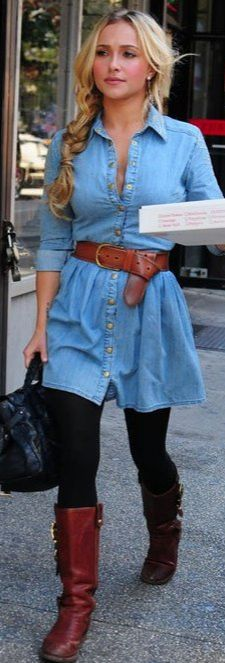 Fall Outfit: Chambray Tunic/Dress + Black Leggings/Tights + Brown/Cognac Belt + Brown/Cognac Boots + Black Bag
