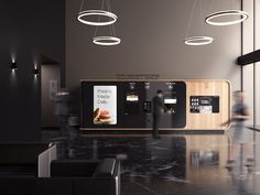 mormedi develops innovative self-serve gourmet vending machine Kiosk Design, Cafe Design, Booth Design, Retail Design, Store Design, Display Design, Coffee Vending Machines, Office Signage, Soda Machines
