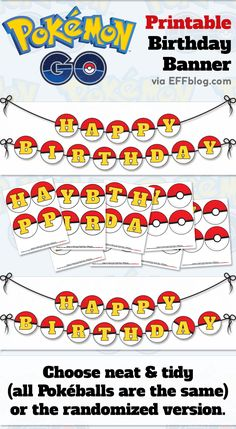 Pokémon GO: PokéBanner Printable Birthday Banner with extra blank pokeballs for customizing #pokemongo