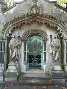 Patina door - vault at Brompton Cemetery, London