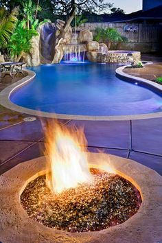 Pool, slide, and a warm fire. Ready for some fun!!