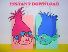 Trolls Party Favor Bags/ DIY Trolls by CreativePartyStudio on Etsy