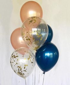 Rose Gold Navy Gold Confetti Balloons Rose Gold Navy Latex