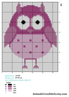 Owl Cross Stitch Pattern Modern Bird cross stitch pattern animal
