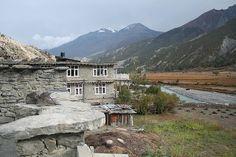 View from Braga. View of Marsyandgi River and mountains from lodge in Braga, Annapurna Region, Nepal 2006