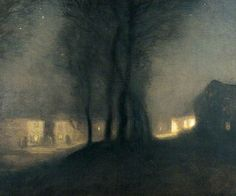 The Village at NightThe Village at Night by George Clausen Leeds Museums and Galleries Date painted: 1903 Oil on canvas, x cm Collection: Leeds Museums and Galleries Nocturne, Landscape Art, Landscape Paintings, John Blake, English Artists, Art Uk, Artist At Work, Painting & Drawing, Art Photography