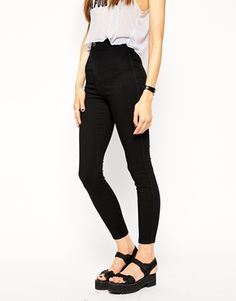 ASOS Rivington High Waist Denim Ankle Grazer Jeggings in Black