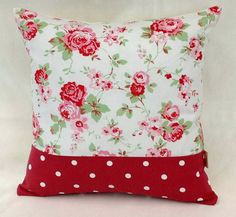 White Rosali Floral Red Dotty throw pillow cushion cover vintage shabby chic .cath kidston fabric with Optional Cushion backs. via Etsy
