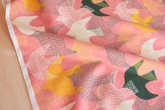 Japanese Fabric  cotton dobby birds  mustard green by MissMatatabi, $6.00