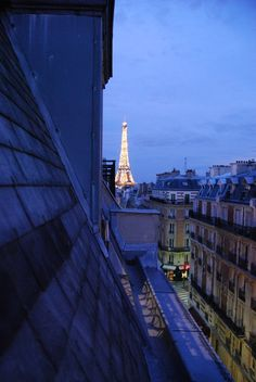 Paris at Night, view from the Hotel Elysee Union, via Hogger & Co.
