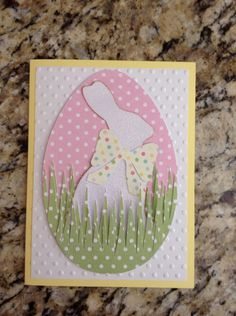 handmade Easter card ... bunny on an egg ... polka dot papers and Swiss dot embossing folder texture ...