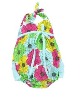 This colorful floral romper features a fashion-forward halter style and easy breezy fit. With 3 bold rear ruffles and fabric that makes you want to snuggle, your little sweetie will feel like the little blossom she is.  RuffleButts Penelope Bubble Romper   www.RuffleButts.com
