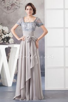 A-line Square Floor-length Short Sleeve Chiffon Lace Dress - $114.99