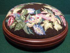 Vintage Hand Needlepoint Embroidery Decorated Footstool Bun Kneeling Stool