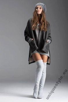 LENA LARGO kozaki za kolano strecz szare skóra
