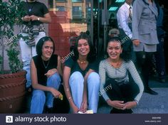 3, three, Mexicans, Mexican women, Mexican, women, young women, young adults, friends, girlfriends, Aguascalientes, Aguascalientes State, Mexico Stock Photo