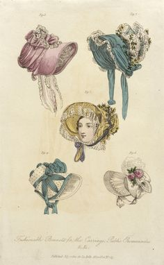 Fashion Plate (Fashionable Bonnets for the Carriage, Public Promenades)   LACMA Collections 1822