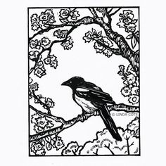Through the Trees, Linocut, Hand Pulled Fine Art, Limited Edition, Printmaking Original, Magpie