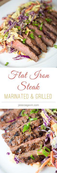 Delicious! Family Style Marinated Grilled Flat Iron Steak. Thomas Keller Recipe   jessicagavin.com #adhoc