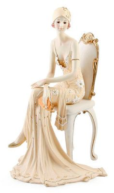Art Deco Broadway Belles Lady Figurine Figurines Ornament Statue Peach Colour 19 #Juliana