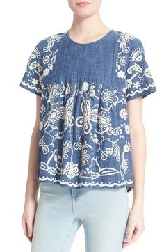 Sea Embroidered Chambray Top