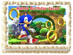 SONIC THE HEDGEHOG Birthday Edible image Cake topper design #KopykakeSheets