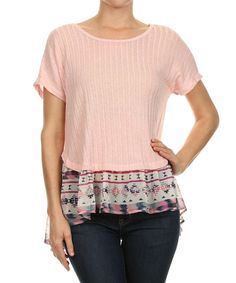 Another great find on #zulily! Le Lis Collection Pink & Ivory Ribbed Sheer-Hem Top by Le Lis Collection #zulilyfinds