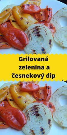 Grilovaná zelenina a česnekový dip Shrimp, Sausage, Meat, Food, Crickets, Sausages, Essen, Meals, Yemek