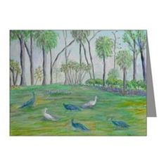 Peacocks in Old Florida Note Cards