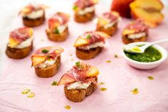 This peach, prosciutto, and ricotta bruschetta, dripped with a slightly spicy garlic oil, is sweet, salty, savory, and all-around peachy.