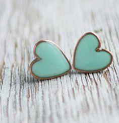 Mint Green Bridal Heart Earrings